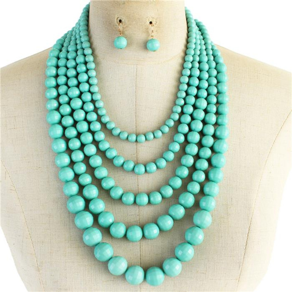 Three Layers Turquoise Lucite Bead Gradual Necklace earring Set